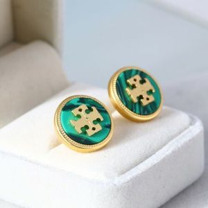 Tory Burch Semi-Precious Green Malachite Earrings